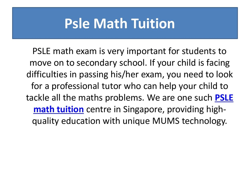 Psle Math Tuition PSLE math exam is very import...