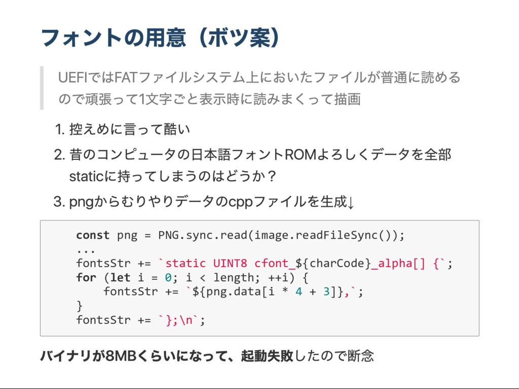 フォントの用意( ボツ案) UEFI では FA T ファイルシステム上においたファイルが普通...
