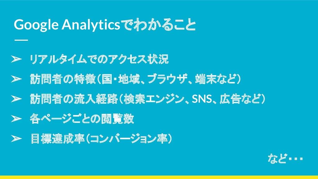 Google Analyticsでわかること ➢ リアルタイムでのアクセス状況 ➢ 訪問者の特...