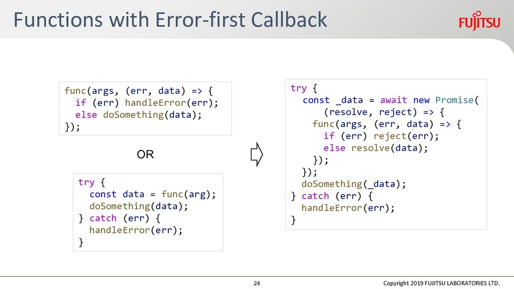 Functions with Error-first Callback Copyright 2...