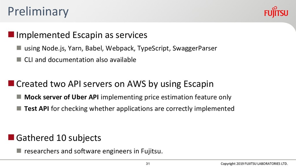 Preliminary Implemented Escapin as services  ...