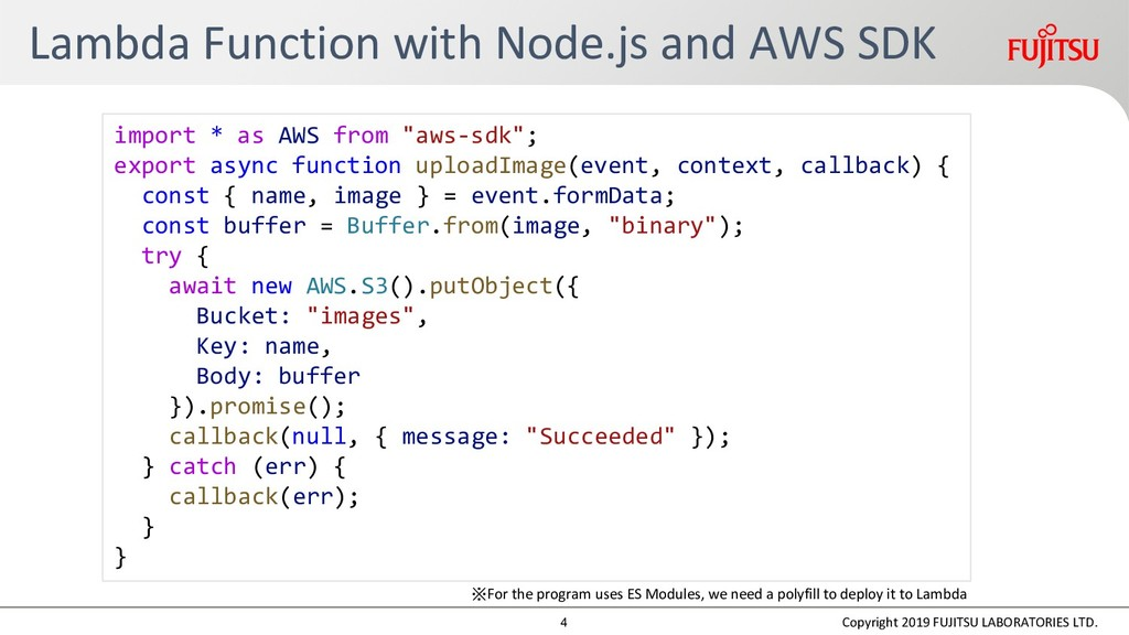 Lambda Function with Node.js and AWS SDK Copyri...
