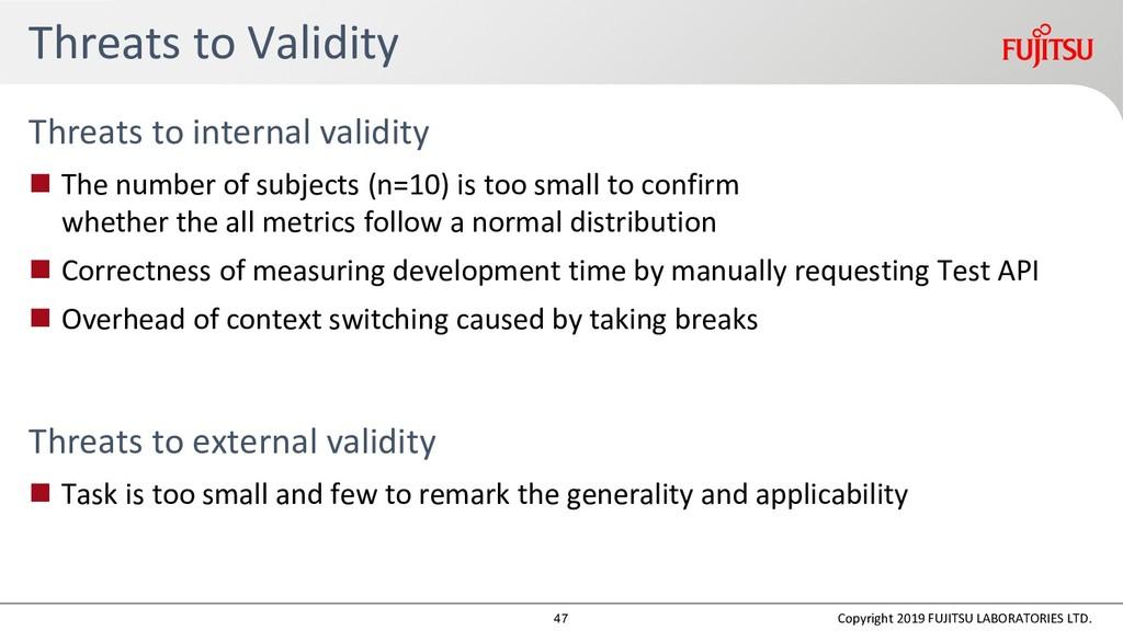 Threats to Validity Threats to internal validit...
