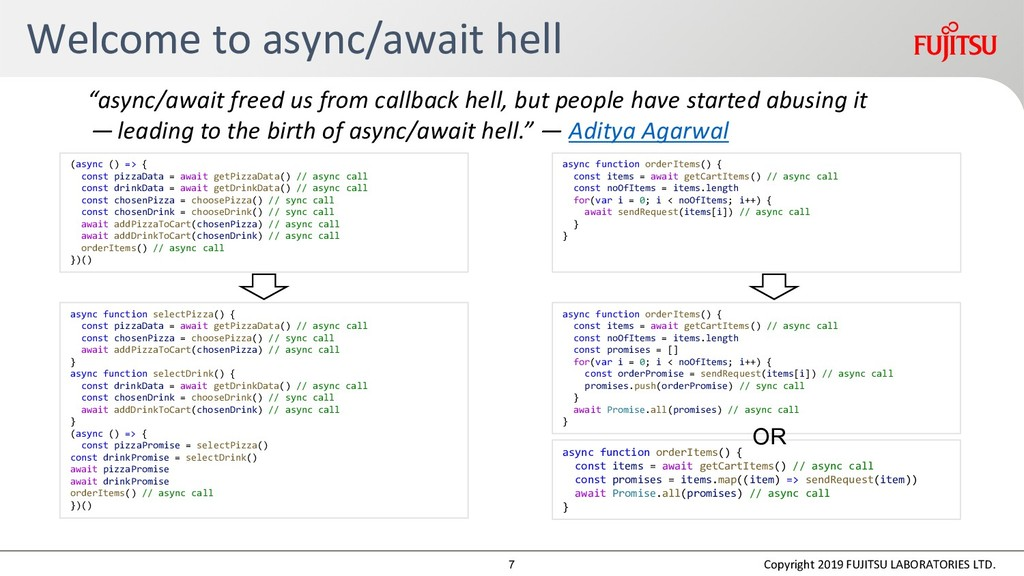 Welcome to async/await hell Copyright 2019 FUJI...