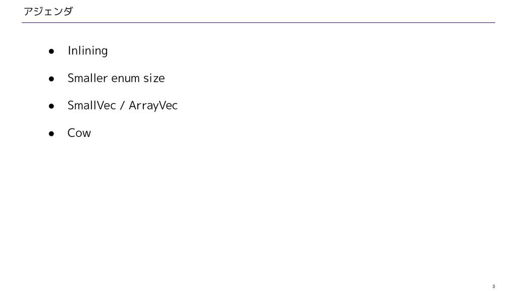 3 アジェンダ ● Inlining ● Smaller enum size ● SmallV...
