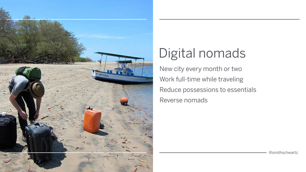 Digital nomads New city every month or two Work...