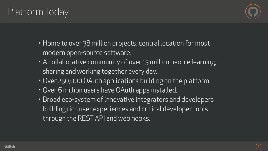 GitHub Platform Today 3 • Home to over 38 milli...