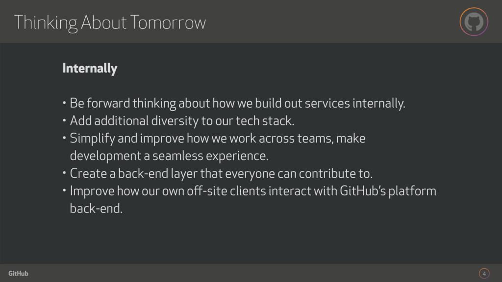 GitHub Thinking About Tomorrow 4 Internally • B...