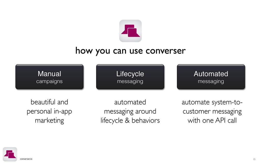 converser.io Manual campaigns Lifecycle messagi...