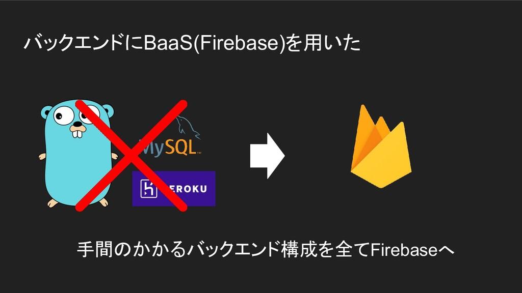 バックエンドにBaaS(Firebase)を用いた 手間のかかるバックエンド構成を全てFire...