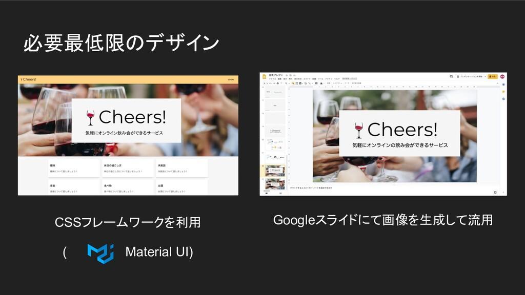 必要最低限のデザイン Googleスライドにて画像を生成して流用 CSSフレームワークを利用 ...