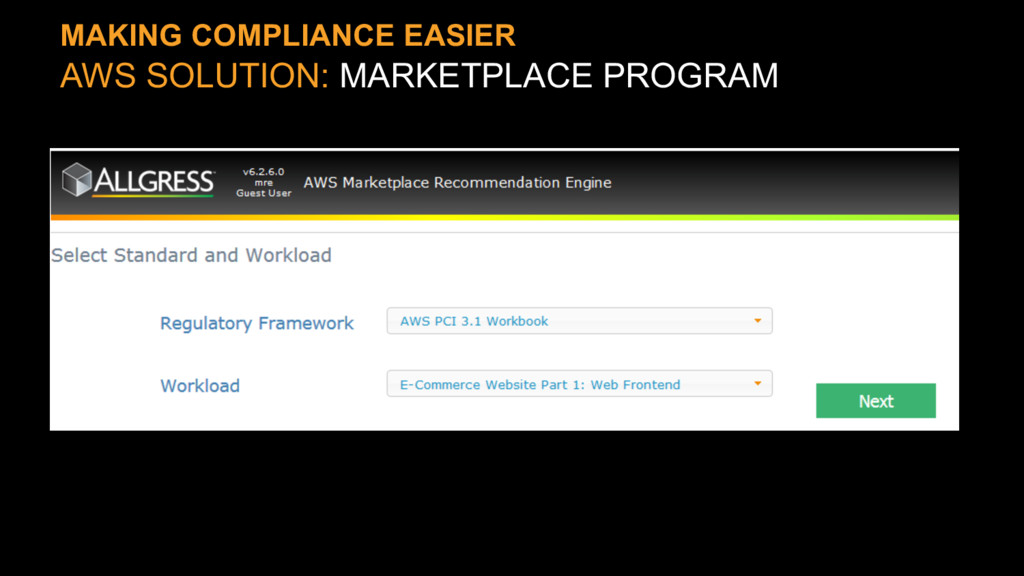 MAKING COMPLIANCE EASIER AWS SOLUTION: MARKETPL...