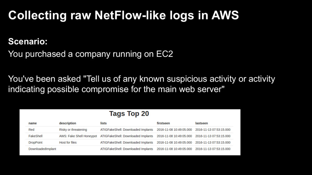 Collecting raw NetFlow-like logs in AWS Scenari...