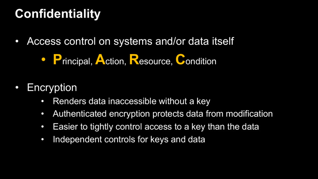 • Access control on systems and/or data itself ...