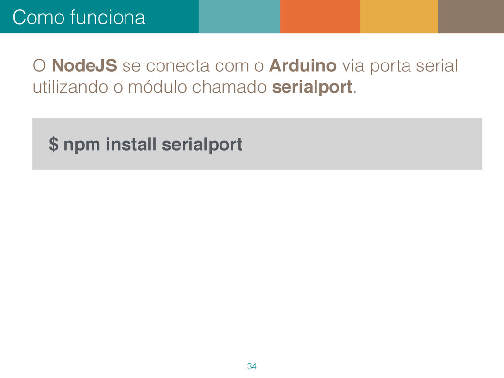 Como funciona 34 $ npm install serialport O Nod...