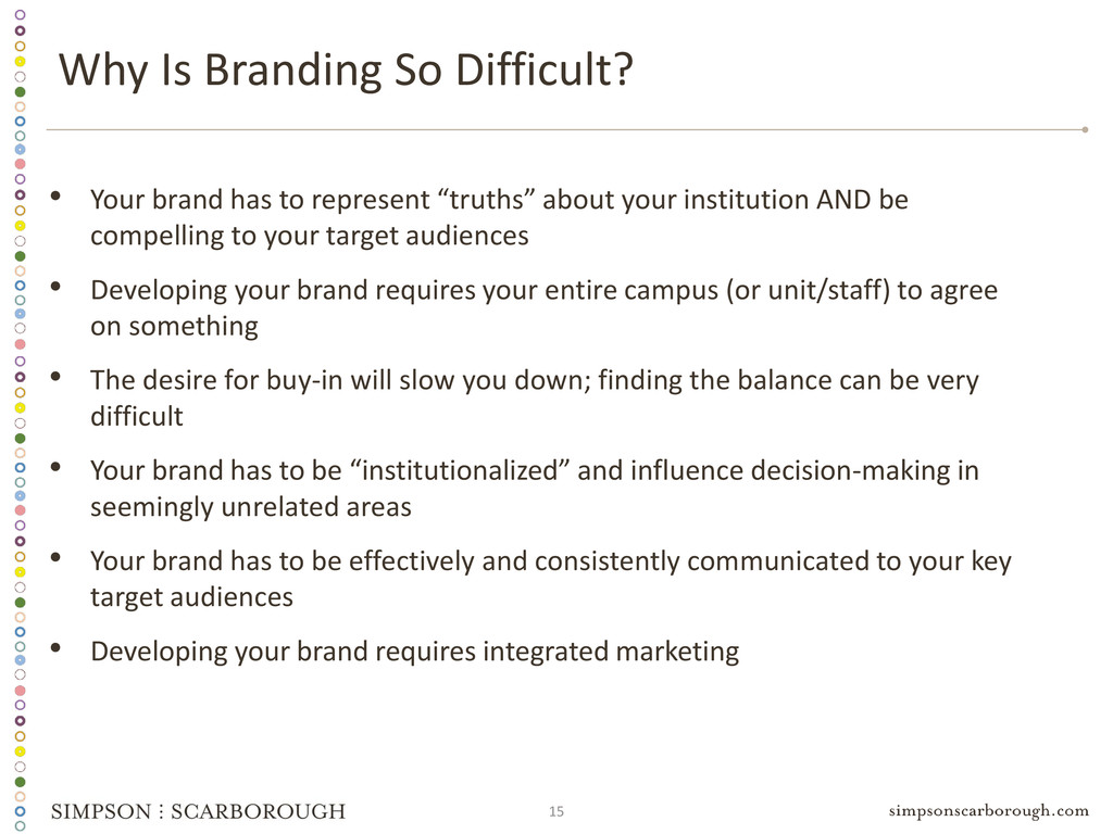 15 Why Is Branding So Difficult? • Your brand h...