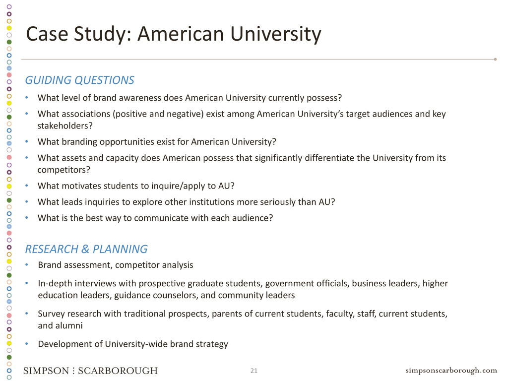 21 Case Study: American University GUIDING QUES...
