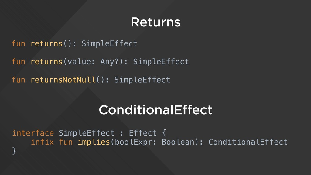 Returns fun returns(): SimpleEffect fun returns...