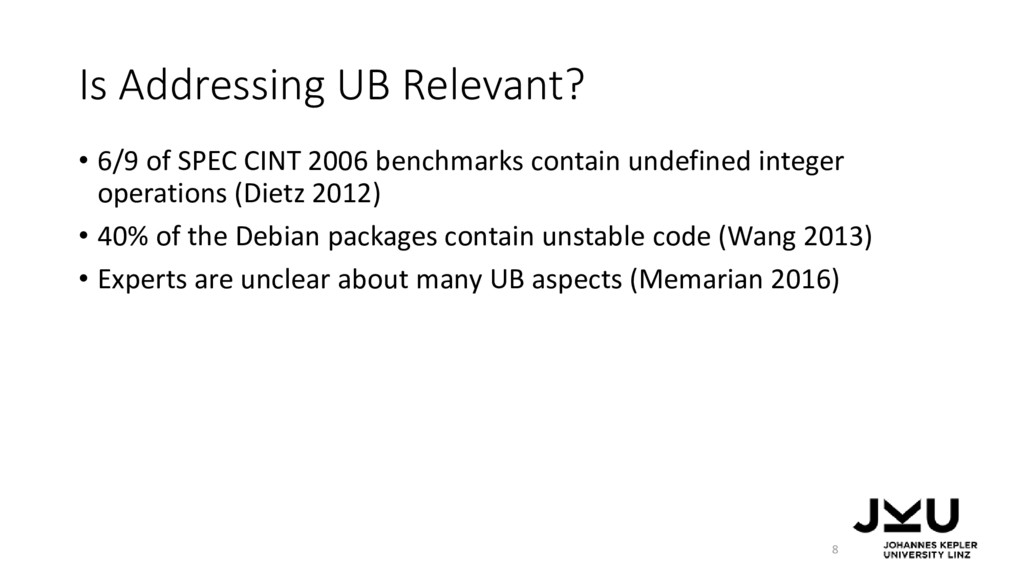 Is Addressing UB Relevant? • 6/9 of SPEC CINT 2...