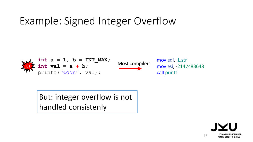 Example: Signed Integer Overflow 37 int a = 1, ...