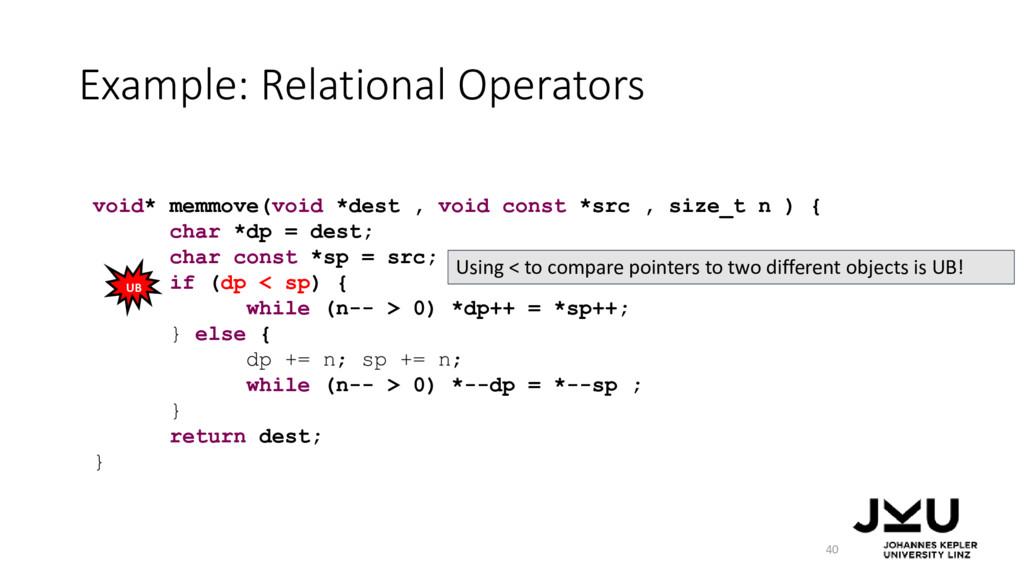Example: Relational Operators 40 void* memmove(...