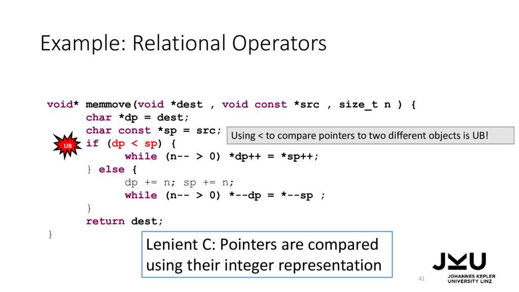 Example: Relational Operators 41 Lenient C: Poi...