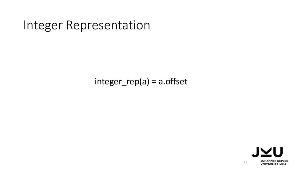 Integer Representation 43 integer_rep(a) = a.of...