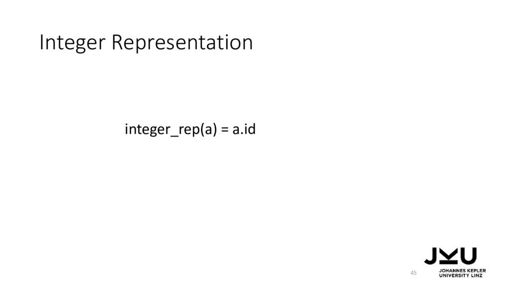 Integer Representation 45 integer_rep(a) = a.id