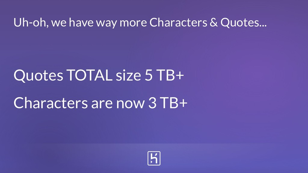 Quotes TOTAL size 5 TB+ Characters are now 3 TB...