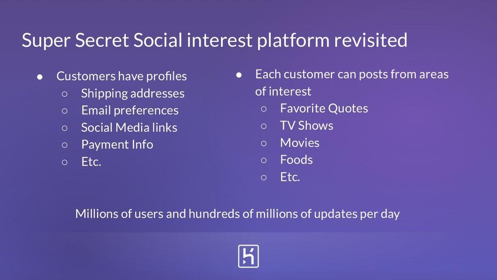 Super Secret Social interest platform revisited...