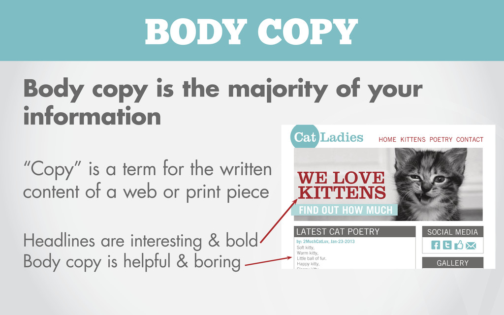 BODY COPY Body copy is the majority of your inf...