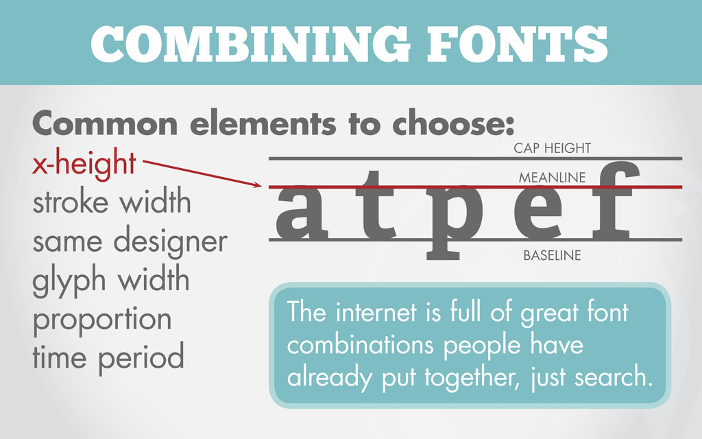 COMBINING FONTS Common elements to choose: x-he...