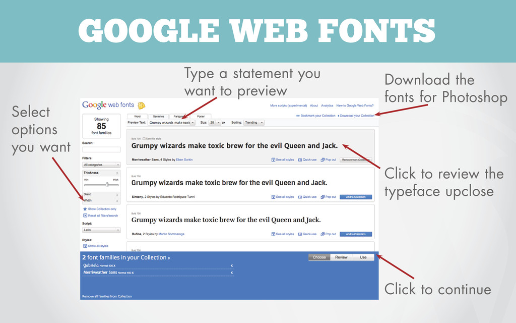 GOOGLE WEB FONTS Download the fonts for Photosh...