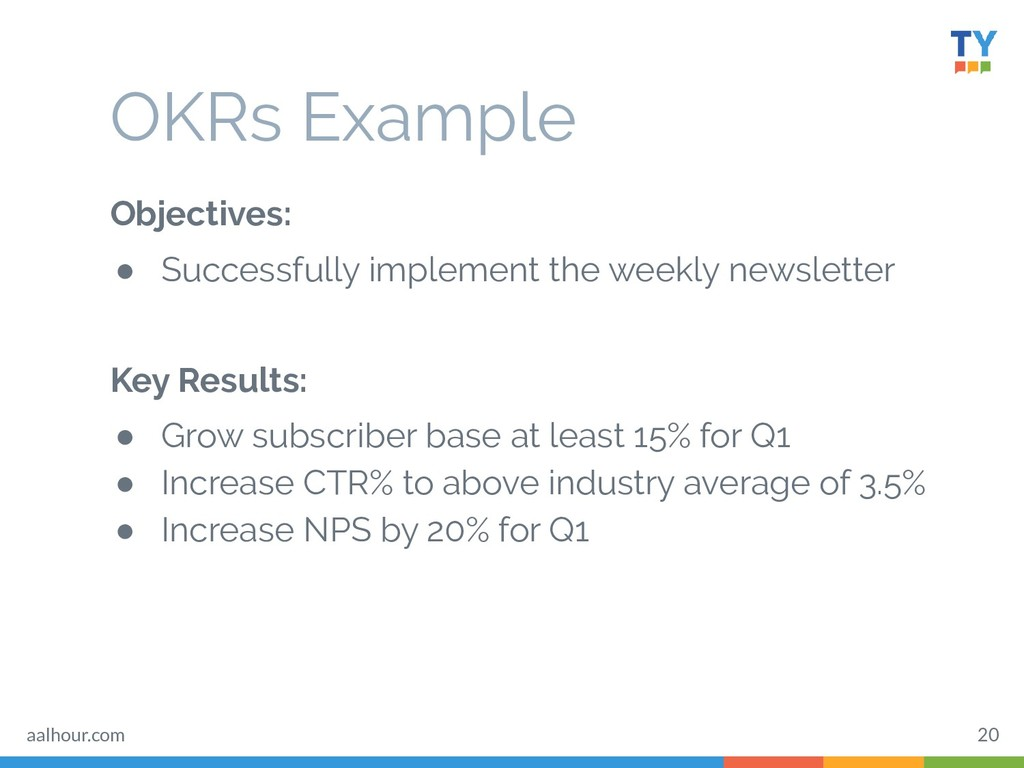 OKRs Example Objectives: ● Successfully impleme...