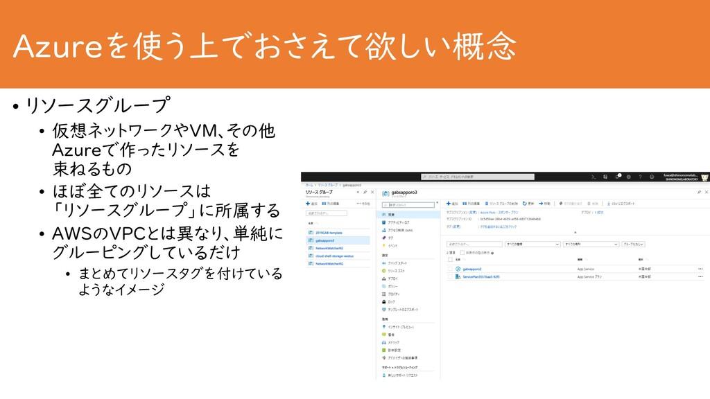 Azureを使う上でおさえて欲しい概念 • リソースグループ • 仮想ネットワークやVM、その...