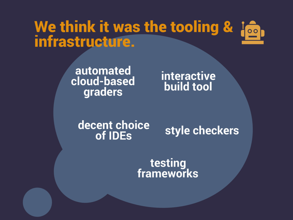 We think it was the tooling & infrastructure. a...