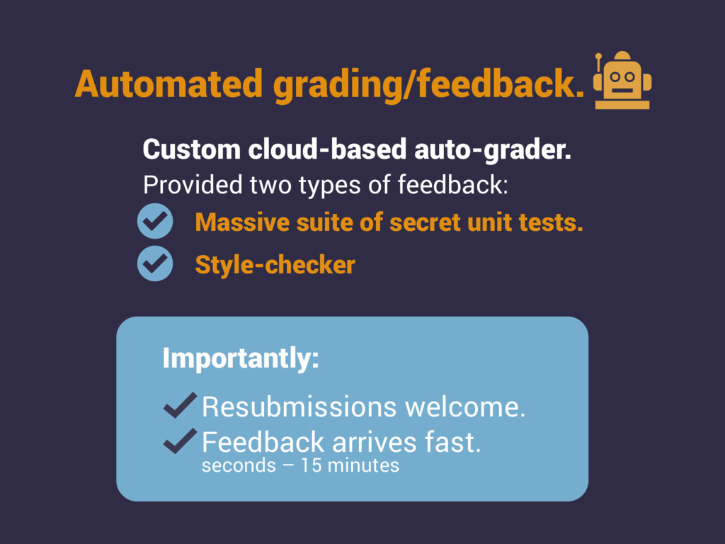 Automated grading/feedback. Custom cloud-based ...