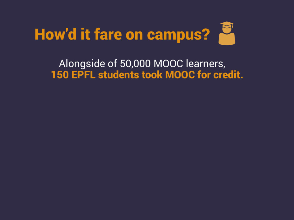 How'd it fare on campus? Alongside of 50,000 MO...