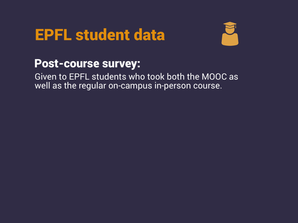 EPFL student data Post-course survey: Given to ...