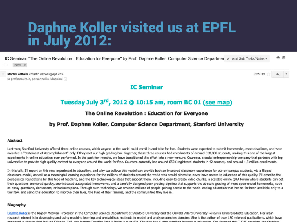Daphne Koller visited us at EPFL in July 2012: