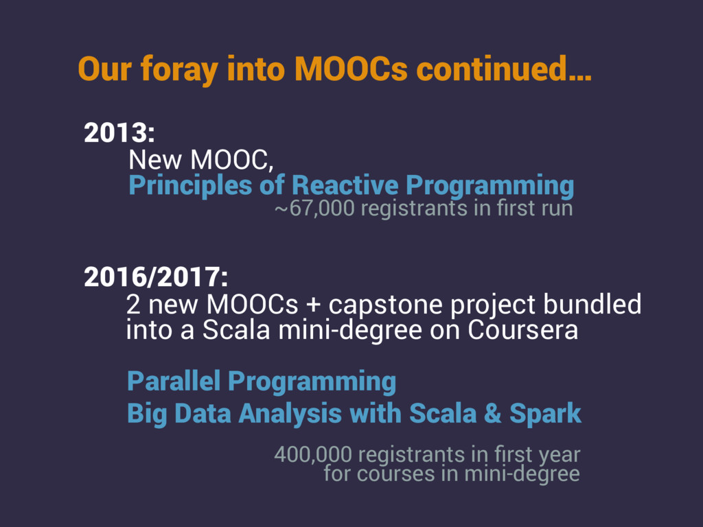 2013: New MOOC, Our foray into MOOCs continued…...