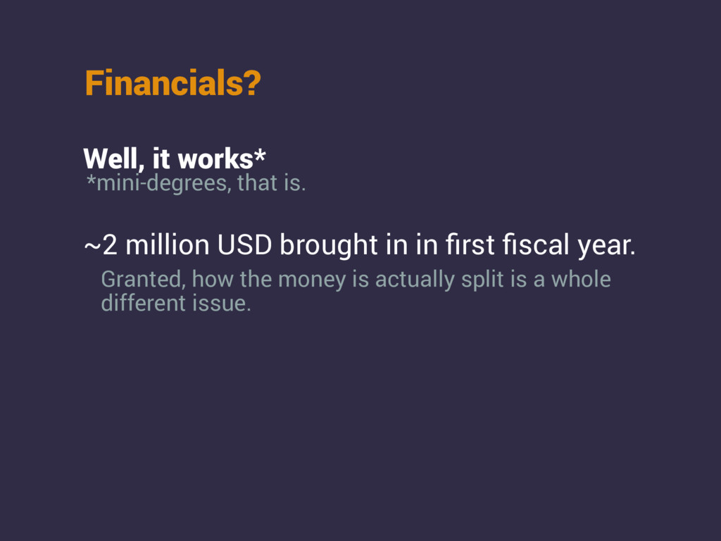 Financials? ~2 million USD brought in in first fi...