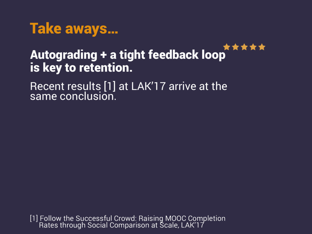 Take aways… Autograding + a tight feedback loop...