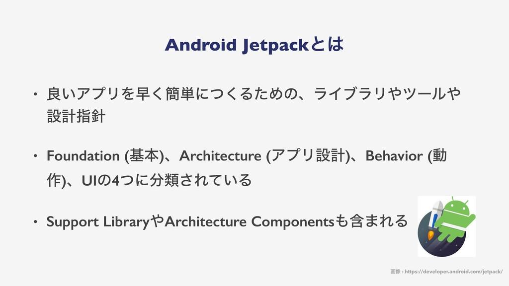 Android Jetpackͱ • ྑ͍ΞϓϦΛૣ͘؆୯ʹͭ͘ΔͨΊͷɺϥΠϒϥϦπʔϧ...