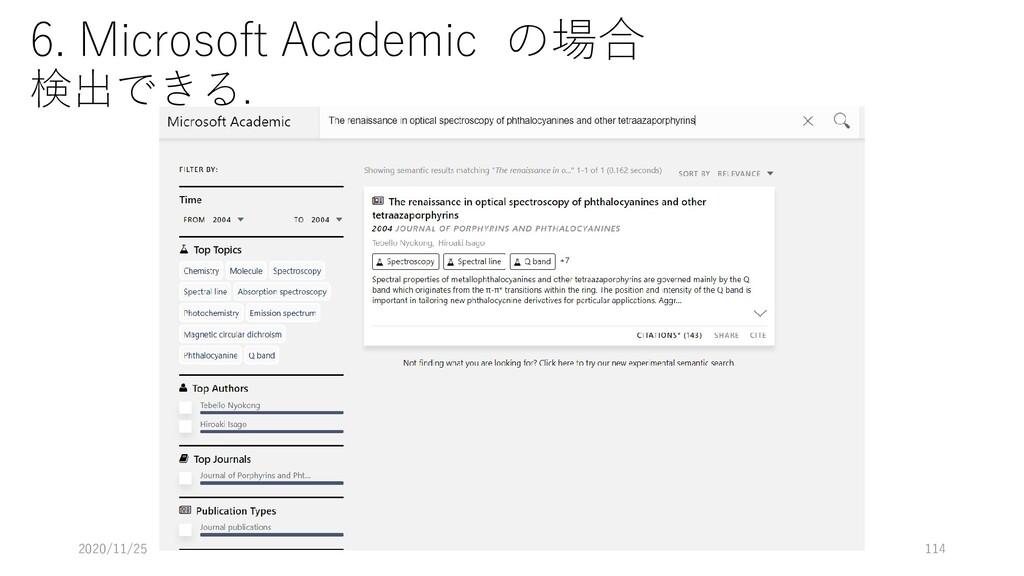 6. Microsoft Academic の場合 検出できる. 2020/11/25 114