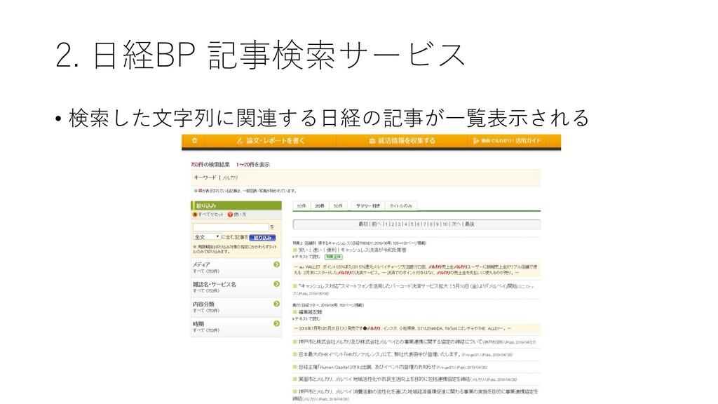 2. 日経BP 記事検索サービス • 検索した文字列に関連する日経の記事が一覧表示される