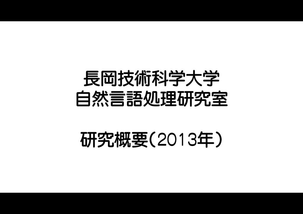 長岡技術科学大学 自然言語処理研究室 研究概要(2013年)