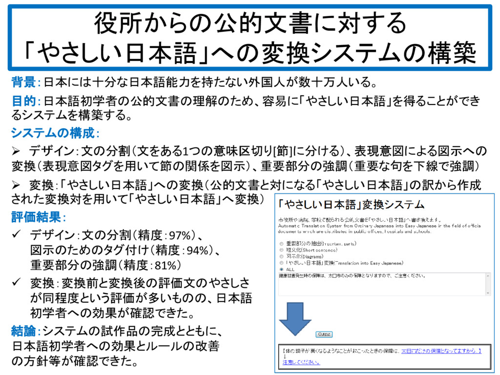 役所からの公的文書に対する 「やさしい日本語」への変換システムの構築 背景:日本には十分な日本...