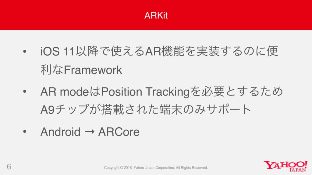 ARKit • iOS 11Ҏ߱Ͱ͑ΔARػΛ࣮͢Δͷʹศ རͳFramework • ...