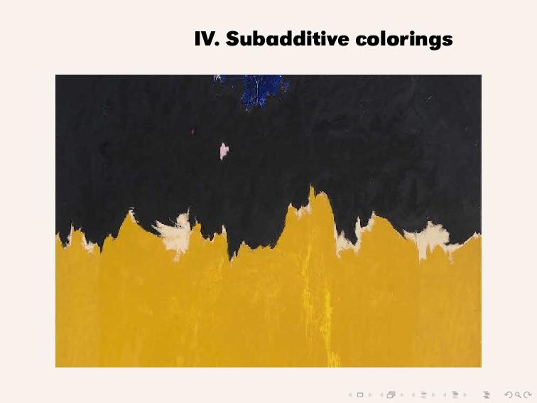 IV. Subadditive colorings